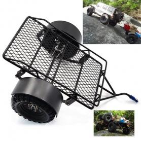Yeah Racing carrello a 2 ruote NERO in acciaio con balestre per trasporto carichi Jeep Crawler