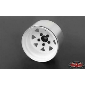 "5 Lug Deep Dish Wagon 1.9"" Steel Stamped Beadlock Wheels (White)"