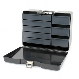 polybutler cassetta valigetta porta attrezzi in abs nera a 8 cassetti 48x36x18