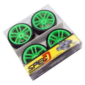 yeah racing spec d cx10 gomme da drift offset +3 con cerchio 10 raggi verdi