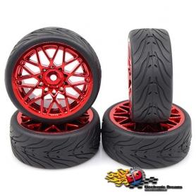 yeah racing spec t ls gomme in lattice touring scolpite offset +3 con cerchio cromato rosso