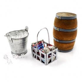 yeah racing accessori secchio con ghiaccio, lattine coke, botte in legno jeep crawler