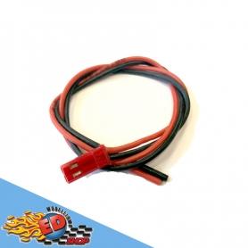cavetto rosso nero in silicone hq 30cm con spinotto bec maschio